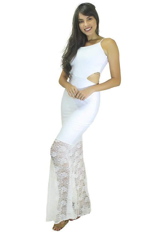 d224ba028 Vestido longo alcinha com detalhe na cintura e renda - R$ 89.99 (com ...