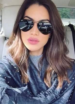 Óculos escuros de mulher espelhada com proteção uv400 lindo
