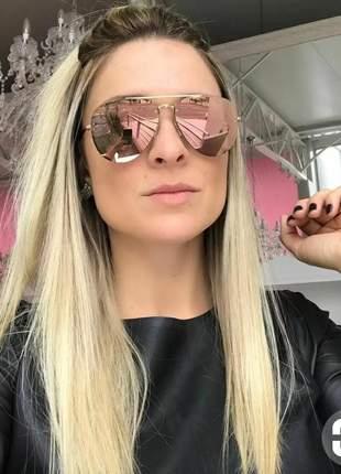 Óculos de sol luxo chique de mulher redondo espelhado pink