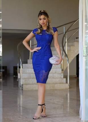Vestido midi azul renda