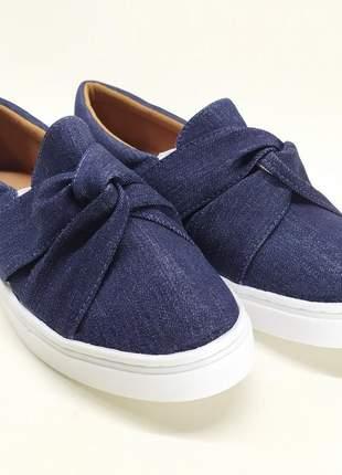 Slip on sapatenis feminino confortável jeans azul escuro com laço