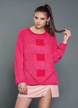 Blusa trico chenile quadrados iozi