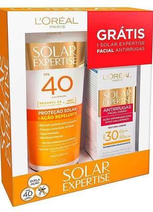 Kit protetor solar l'oréal ação repelente fps40 - 200ml + protetor solar facial expertise
