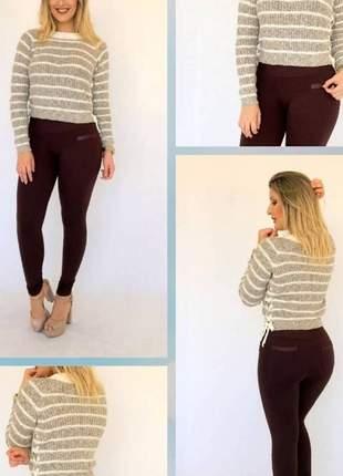 Calça legging com bolso cintura alta feminina