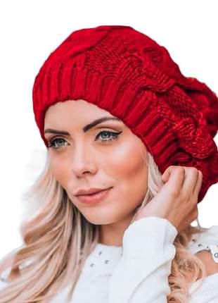 Touca feminina trança tricot