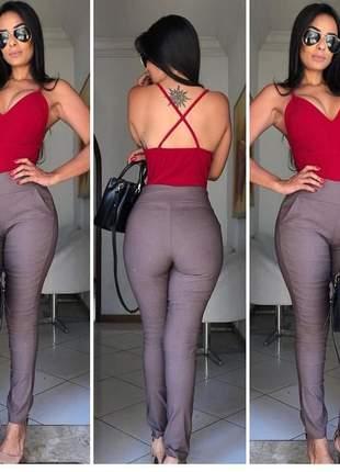 Calça social cintura alta feminina com bolso