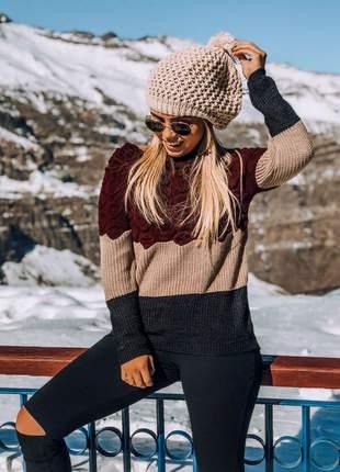 Touca tricot pompom feminina