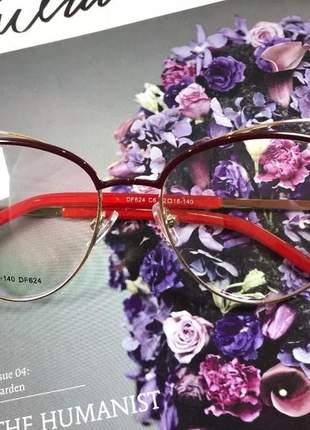 Armação oculos grau feminino original metal ale df624