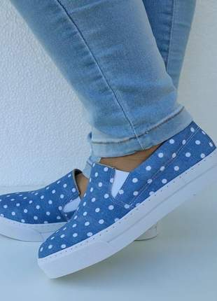 Tênis feminino slip on iate jeans poá flatform