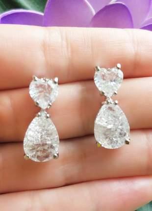 Brincos com pedras em zircônia