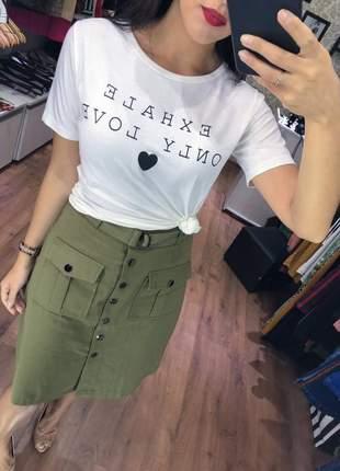 Saia jeans cinto midi
