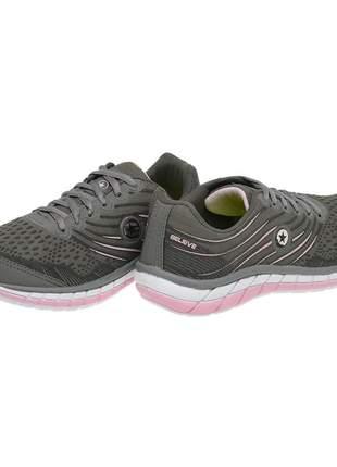 Tênis feminino sf 0527 cinza - rosa bb
