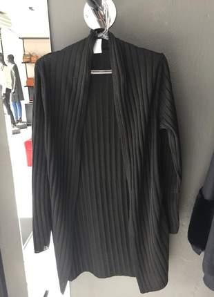 Casaco cardigan preto de lã kimono