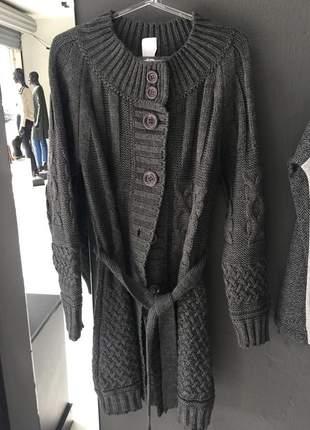 Kimono cardigan de tricô com botões preto
