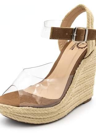 Sandália anabela salto alto transparente e solado sisal