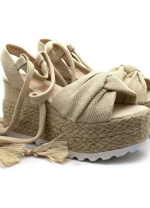 Sandália feminina anabela plataforma espadrille juta com amarração