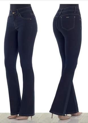 Calça feminina jeans escuro modelo flare - marca dbz jeans - mármore