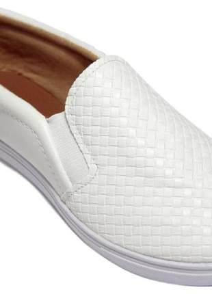 Tênis feminino sapatilha slip on branco