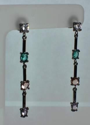 Brinco semijoia gazin ródio negro longo cristais colorful