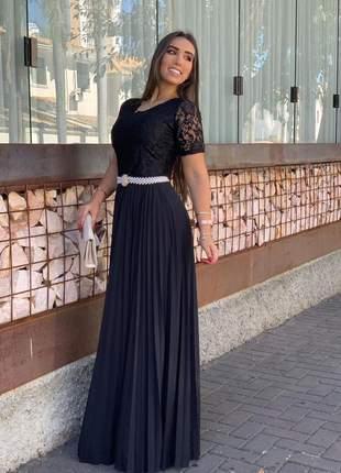 Vestido longo plissado preto