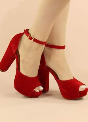 Sandália meia pata salto grosso nobuck