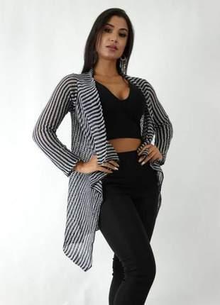 Kimono cardigan casaco tricô listrado preto e branco