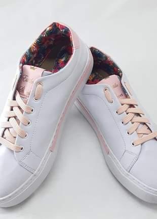 Sapatênis feminino casual branco e rosa ref.005