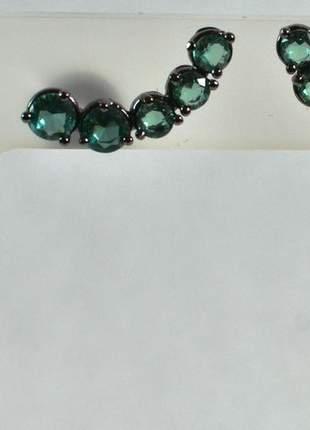 Brinco semijoia gazin earcuff 5 cristais turmalina
