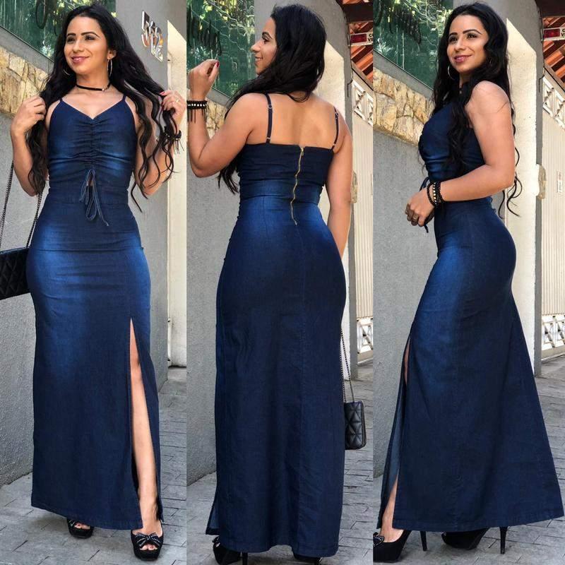 Vestido Jeans Com Lycra Feminino Longo Alcinha Zíper E Fenda Lateral R 13900 Shafa O Melhor Da Moda Feminina