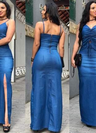 Vestido longo jeans feminino com lycra zíper costas e fenda lateral