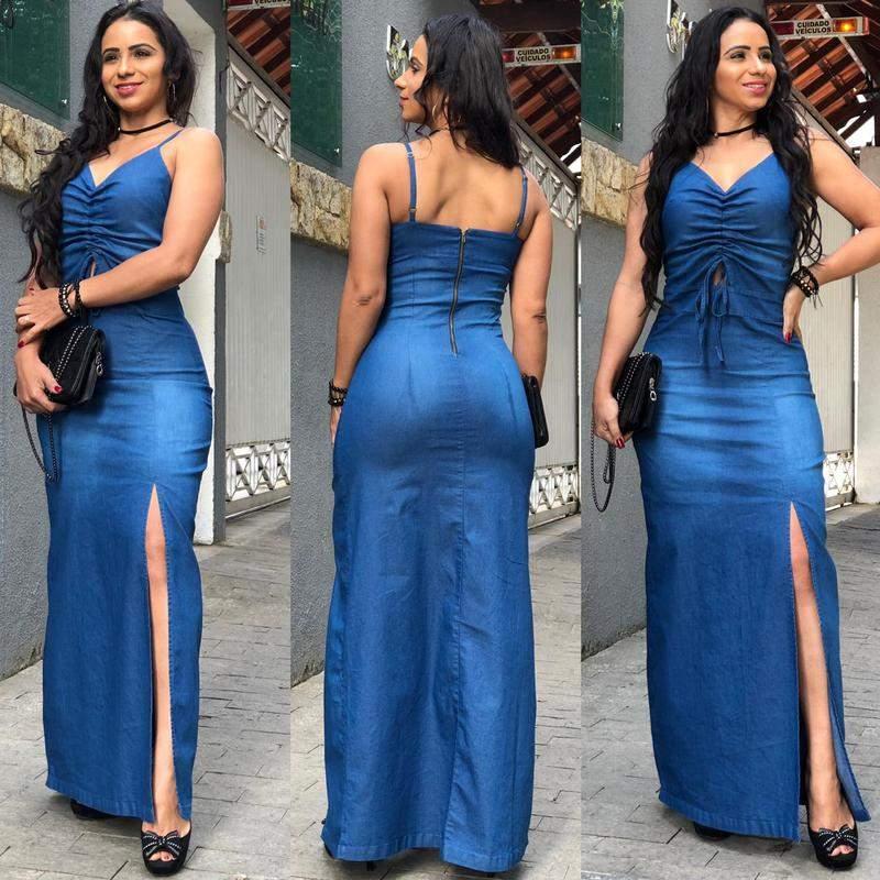 Vestido Jeans Com Lycra Longo Feminino Com Fenda Alcinha R 13900 Shafa O Melhor Da Moda Feminina