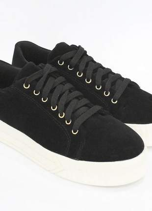 Tenis dali shoes flatform com cadarço preto