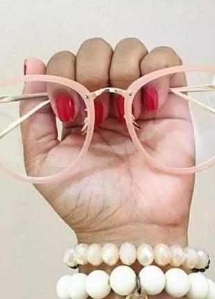 Óculos armação de grau geek redondo vintage metal rosa nude