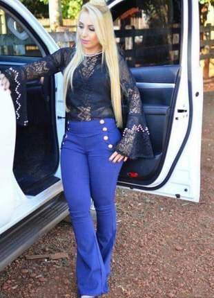 Calça azul royal feminina hot pants flare botão