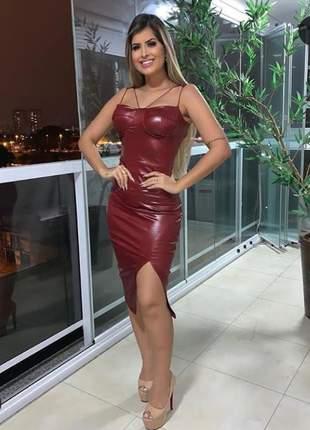 Vestido midi em cirrê com fenda lateral lançamento 2019