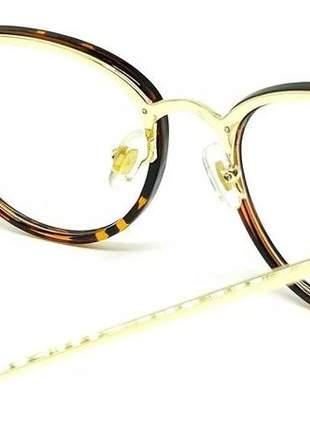 Óculos armação de grau geek redondo metal oncinha tartaruga