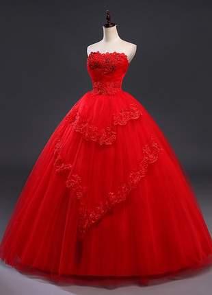 Vestido de debutante casamento noiva vermelho tcm flowers com bordado e pedras