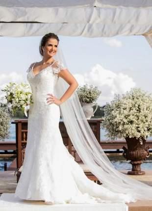 Véu de noiva casamento em tule transparente com pente em 3 metros