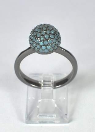 Anel semijoia gazin ródio negro globo pedras azuis - tam. 18mm