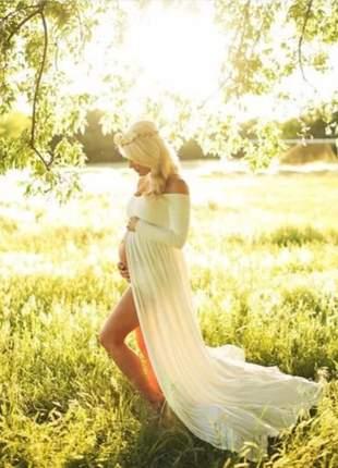 Vestido longo mom ensaio gestante maternidade gravida
