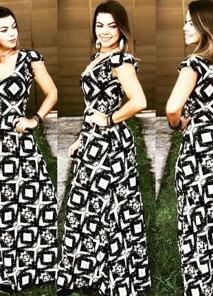 Vestido longo preto e branco