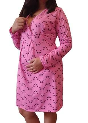 Camisola maternidade manga longa gestante panda 7776ro - linda gestante