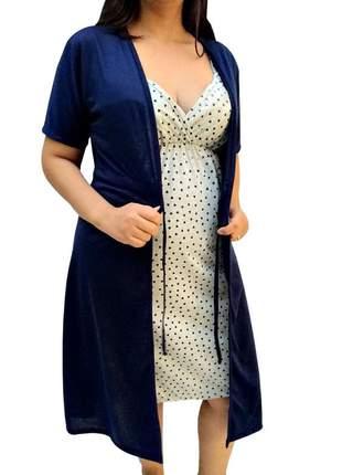Jogo de camisola alcinha e robe gestante maternidade n026 - linda gestante