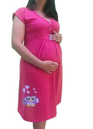 Camisola maternidade e amamentação mamãe coruja 0271pk - linda gestante