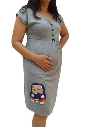 Camisola gestante maternidade manga curta família urso 0272 - linda gestante
