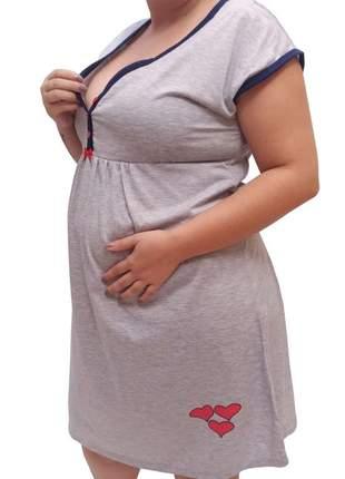 Camisola maternidade plus size gestante corações 2727 - linda gestante