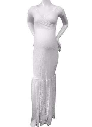 Vestido de renda sereia para ensaio fotográfico ensaio gestante gravida maternidade