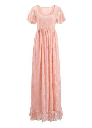 Vestido de renda vintage com forro e elastano ensaio fotográfico maternidade.