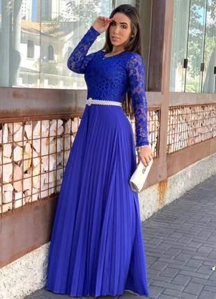 Vestido longo plissado azul royal