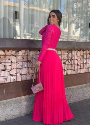 Vestido longo plissado rosa